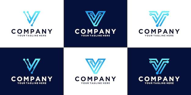 Een verzameling inspiratie voor het ontwerpen van logo's met de eerste letter v voor bedrijven en technologie