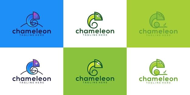Een verzameling kameleon-dierontwerpen met moderne lijntekeningen en kleuren