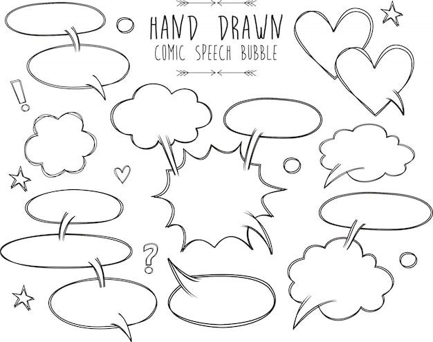 Een verzameling komische tekstballonnen. komische toespraak bubbels doodle set