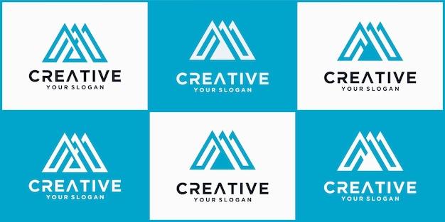 Een verzameling letter m-logo-pictogramontwerpsjabloonelementen, het m-logo met een blauw minimalistisch concept