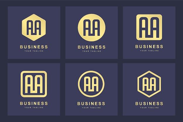 Een verzameling logo-initialen letter a aa goud met verschillende versies