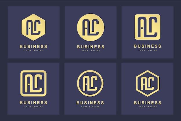 Een verzameling logo initialen letter ac ac goud met verschillende versies
