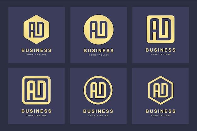 Een verzameling logo initialen letter ad ad goud met verschillende versies