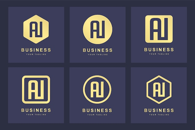 Een verzameling logo-initialen letter ai ai goud met verschillende versies