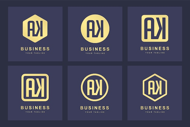 Een verzameling logo initialen letter ak ak goud met verschillende versies