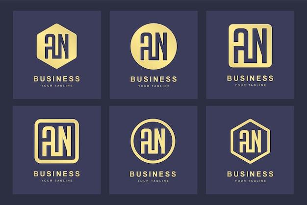 Een verzameling logo initialen letter an an goud met verschillende versies
