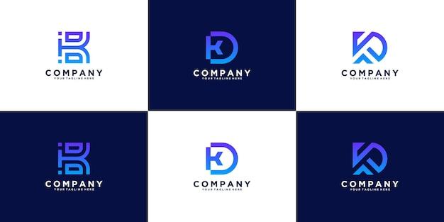 Een verzameling logo-ontwerpletters k en d