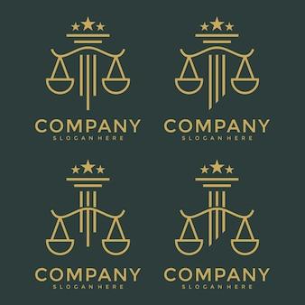 Een verzameling logo's juridische symbolen van gerechtigheid