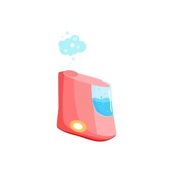 Een verzameling luchtbevochtigers. een ecologisch systeem voor het bevochtigen van droge lucht in huis en elke andere ruimte. microklimaat van huishoudelijke apparaten. moderne platte cartoon vectorillustratie.