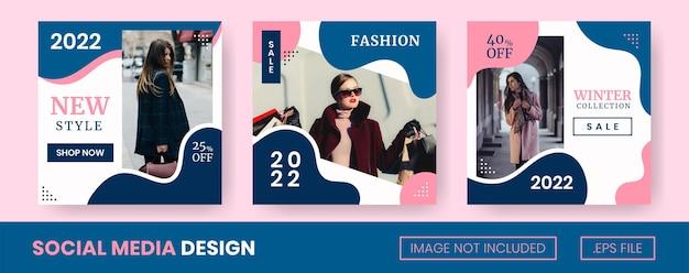Een verzameling modeberichten op sociale media met vloeibare stijl en blauwe en roze kleuren