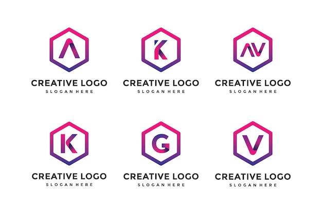 Een verzameling moderne logo-ontwerpsjablonen voor brieven