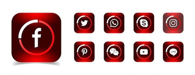 Een verzameling populaire pictogrammen voor sociale media