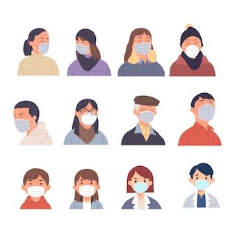 Een verzameling portretcollecties van mensen met maskers op het gezicht als persoonlijke bescherming tegen ziektekiemen, virussen, bacteriën, pest en vervuiling