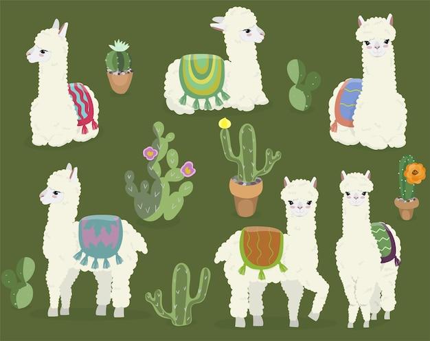 Een verzameling schattige alpaca's en cactussen.