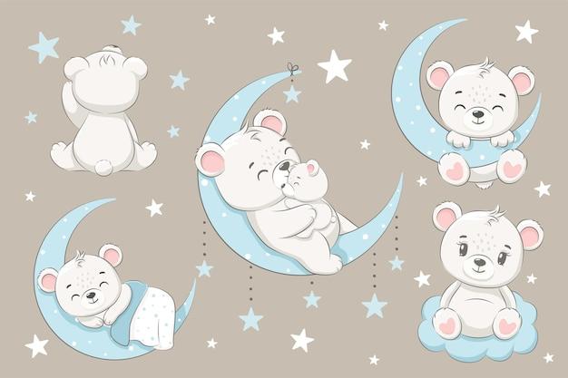 Een verzameling schattige beren, slapend op de maan, dromend en vliegend in een droom op de wolken. cartoon vectorillustratie.