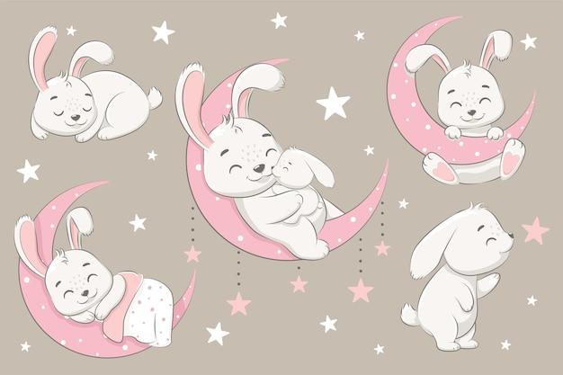 Een verzameling schattige konijnen die op de maan slapen, dromen en vliegen in een droom op de wolken. vectorillustratie van een tekenfilm.