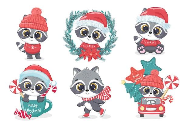 Een verzameling schattige wasbeer voor het nieuwe jaar en kerstmis. vectorillustratie van een tekenfilm.