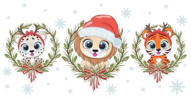 Een verzameling van 3 schattige dieren voor het nieuwe jaar en kerstmis: een leeuwenwelp, een tijgerwelp en een luipaard. cartoon vectorillustratie.