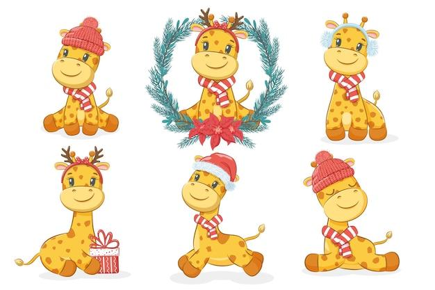 Een verzameling van 6 schattige giraffen voor het nieuwe jaar en kerstmis. cartoon vectorillustratie.