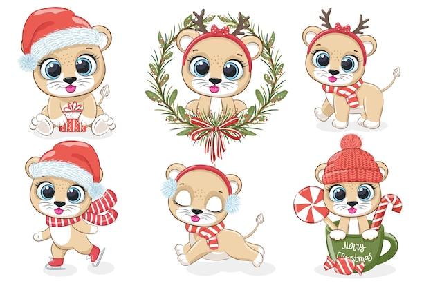 Een verzameling van 6 schattige leeuwenwelpen voor nieuwjaar en kerstmis. vectorillustratie uit een tekenfilm.