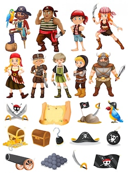 Een verzameling van alle dingen piraten en viking