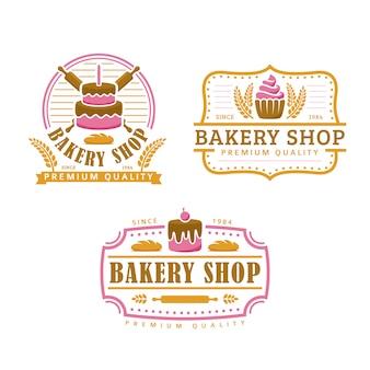 Een verzameling van bakkerij logo sjabloon, bakkerij winkel set, vintage retro-stijl logo pack