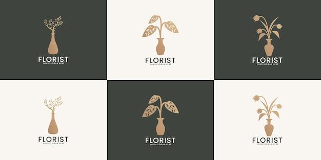 Een verzameling van bloemenvaas sierplant logo inspiraties