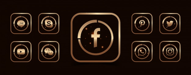 Een verzameling van populaire sociale media iconen sjabloon