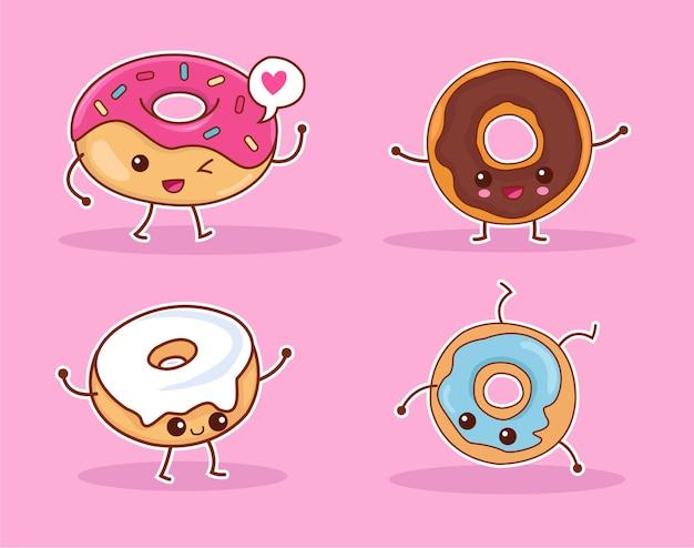 Een verzameling van verschillende schattige donut-personages met verschillende vormen en kleuren