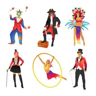 Een verzameling van verschillende spelers in een carnaval met verschillende beroepen