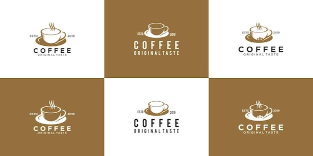 Een verzameling vintage koffielogo's, logo-ontwerp voor restaurantdranken