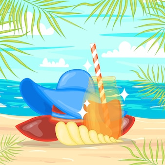 Een verzameling zomerse items. cartoon stijl.