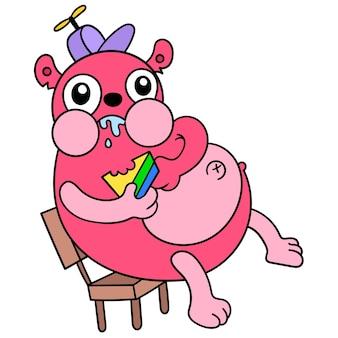 Een vette hebzuchtige eekhoorn at vraatzuchtig het brood, vectorillustratieart. doodle pictogram afbeelding kawaii.