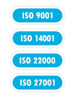 Een vier blauw object met het opschrift iso 14001, iso 9001, iso 22000, iso 27001 is afgebeeld op een witte achtergrond.
