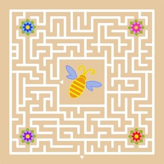 Een vierkant labyrint. help de bij om een uitweg te vinden en honing van alle kleuren te verzamelen.