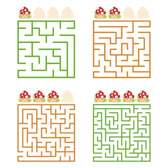 Een vierkant labyrint met een ingang en een uitgang. een set van vier opties, van eenvoudig tot complex.