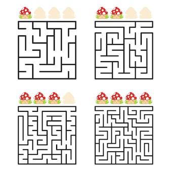 Een vierkant labyrint met een ingang en een uitgang.