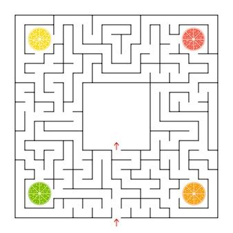 Een vierkant labyrint. verzamel alle fruitlobben en zoek een uitweg uit het doolhof.