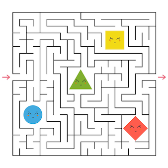 Een vierkant labyrint. verzamel alle geometrische vormen en vind een uitweg uit het doolhof.