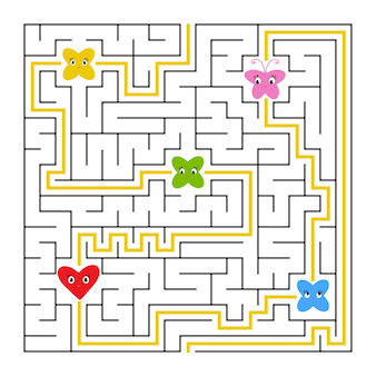 Een vierkant labyrint. verzamel alle sprookjes en vind een uitweg uit het doolhof.