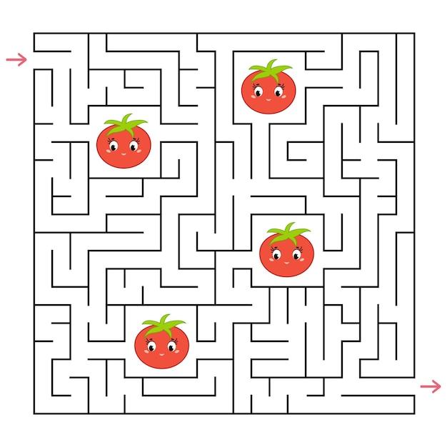 Een vierkant labyrint. verzamel alle tomaten en zoek een uitweg uit het doolhof.