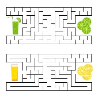Een vierkant labyrint. vind de weg van sap naar fruit.