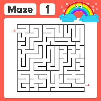 Een vierkant labyrint voor kinderen.