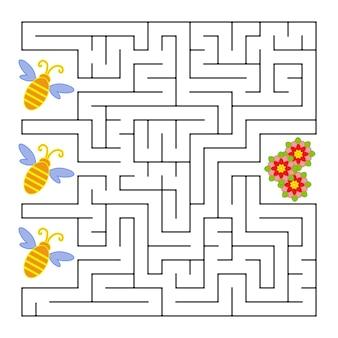 Een vierkant labyrint. wat een bij vliegt naar de bloem.
