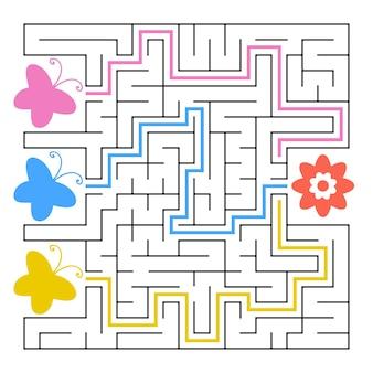 Een vierkant labyrint. welke vlinder vliegt naar de bloem.