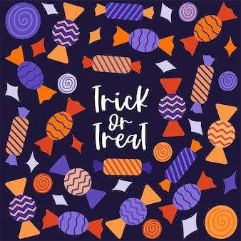 Een vierkante ansichtkaart met snoepjes in een wikkel. hand belettering-trick or treat. halloween-decoratie.