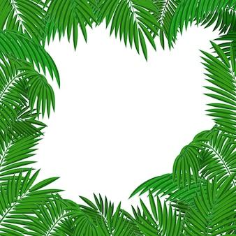 Een vierkante kaderachtergrond van palmbladen. tropische planten.