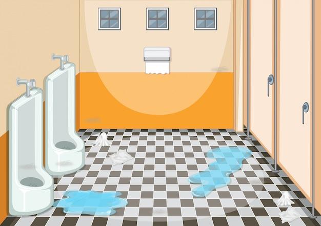 Een vies mannelijk toilet