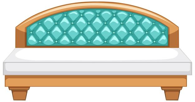 Een vintage kingsize bed op een witte achtergrond