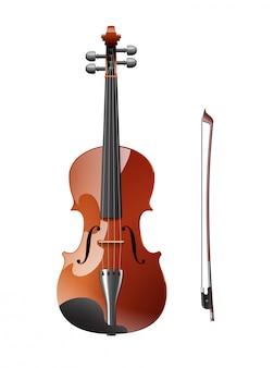 Een viool met strijkstok geïsoleerd